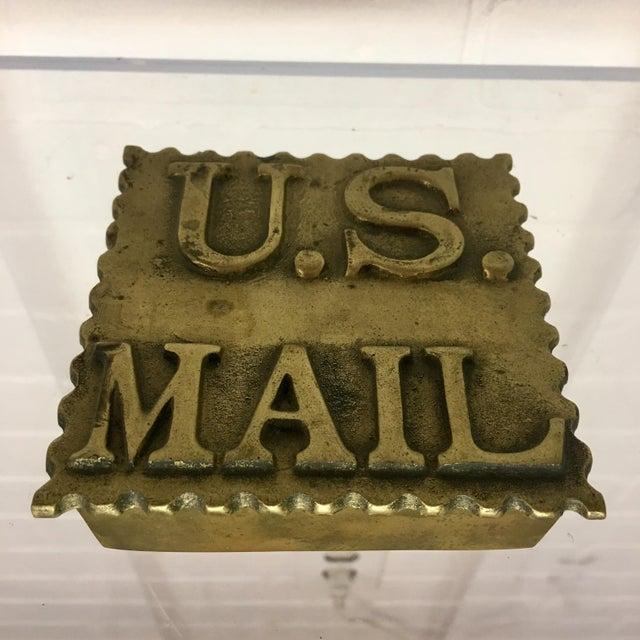 Mid-Century Modern Vintage Brass Postage Stamp Box For Sale - Image 3 of 5