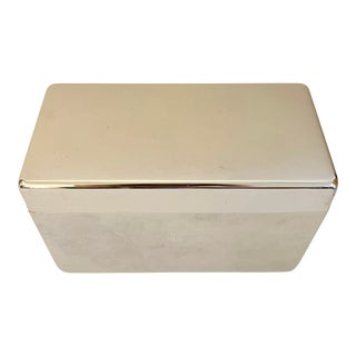 1980's Chrome Metal Box With Wood Liner For Sale