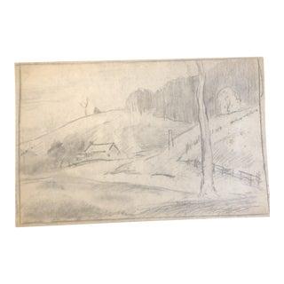 1930s Vintage Eliot Clark Kent, Connecticut Impressionist Inspired Landscape Drawing For Sale