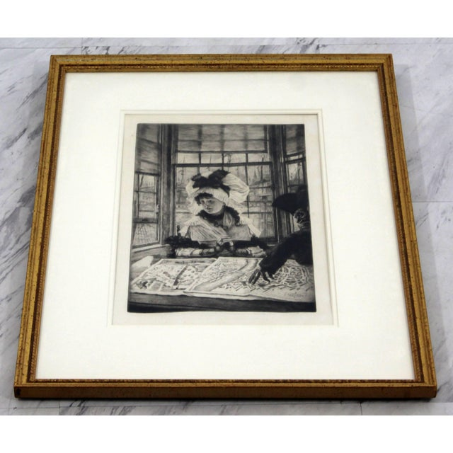 Late 19th Century Vintage Antique James Tissot Histoire Ennuyeuse Etching Dated 1878 For Sale - Image 5 of 9