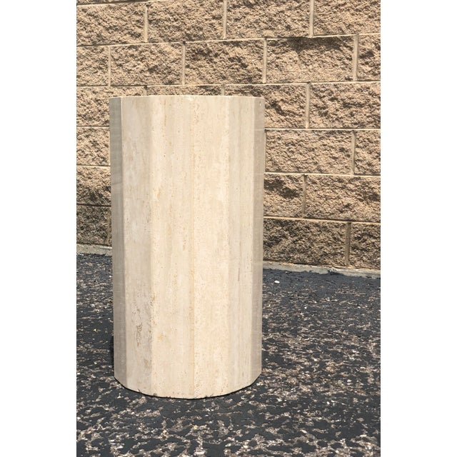 Italian Italian Round Travertine Stone Dining or Center Table For Sale - Image 3 of 8