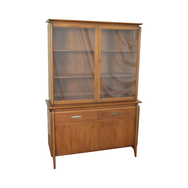 Drexel Projection Mid century Modern Walnut China Cabinet - Image 11 of 11