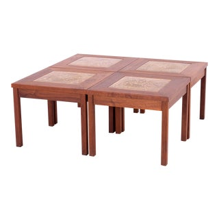 John Keal for Brown Saltman Mid Century Walnut and Copper Tile Coffee or Side Tables - 4 Piecess For Sale