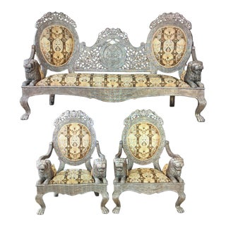 Historical Sultan Sofa of Zanzibar Silver Furniture - Set of 3 For Sale