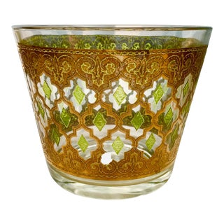 Culver Glass Gold and Green Valencia Mid Century Ice Bucket For Sale