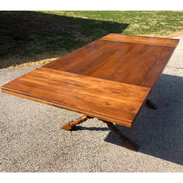 20th Century Country Cushman Colonial Farm Style X-Leg Trestle Table For Sale - Image 13 of 13