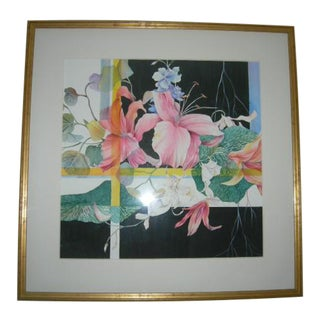 Contemporary Original Watercolor Painting, Framed For Sale