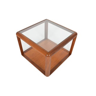 G Plan Square Teak + Glass Coffee Table For Sale