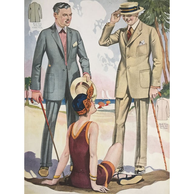 Original color lithograph for a custom tailor's shop summer fashions from 1923. Includes order instruction and prices....