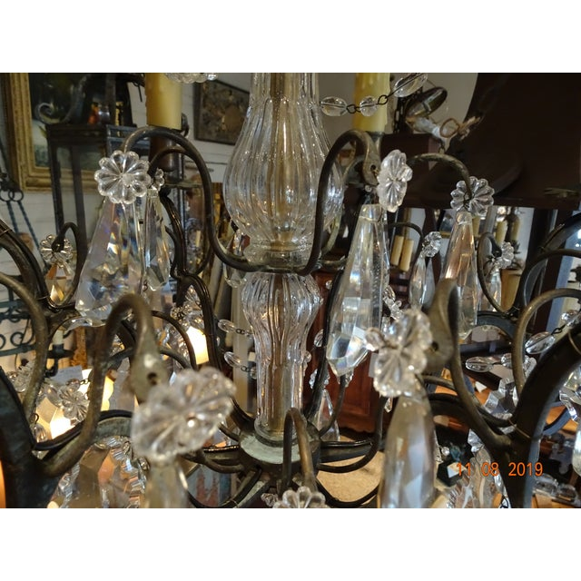 Black Small Vintage French Crystal Chandelier For Sale - Image 8 of 13