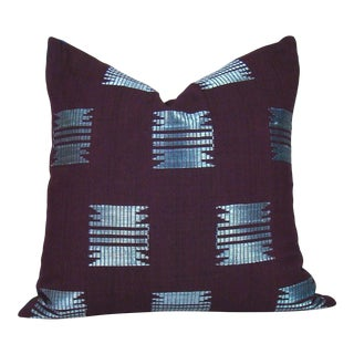 Boho Chic Burgundy Geometric African Aso Oke Pillow Cover For Sale
