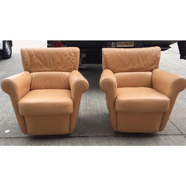 Animal Skin Vintage Leather Club Chairs a Pair For Sale - Image 7 of 8