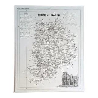 """19th C. Map of Seine Et Marne, France, """"Petit Atlas..."""" 1833"""