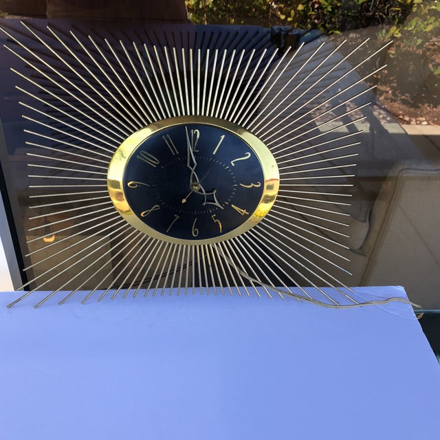 Gold 1950s General Electric Sunburst Wall Clock For Sale - Image 8 of 8