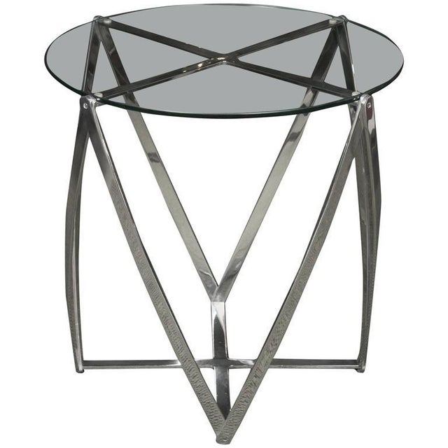 A John Vesey Aluminum & Glass-Top Round Side Table For Sale In New York - Image 6 of 6