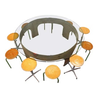 Italian Round Conference Table by Gimo Fero - Set of 11 For Sale