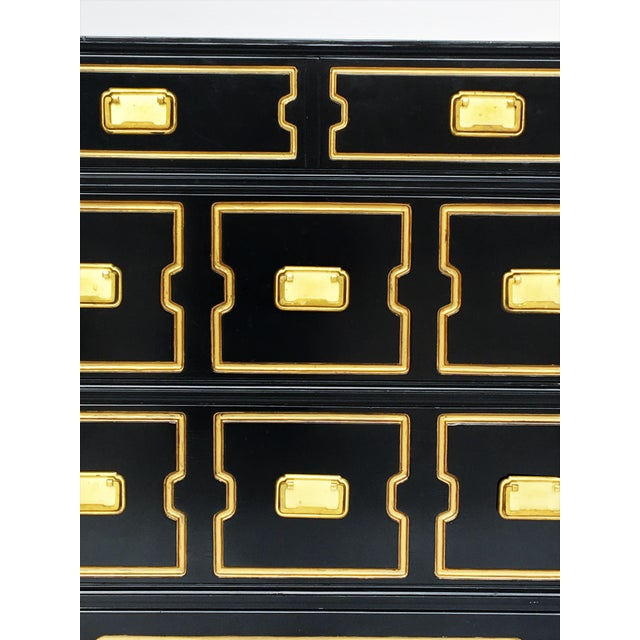 Vintage Black and Gold Dorothy Draper Style Chest For Sale - Image 9 of 11