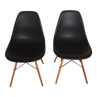 Modern Black Eames Chairs- A Pair For Sale