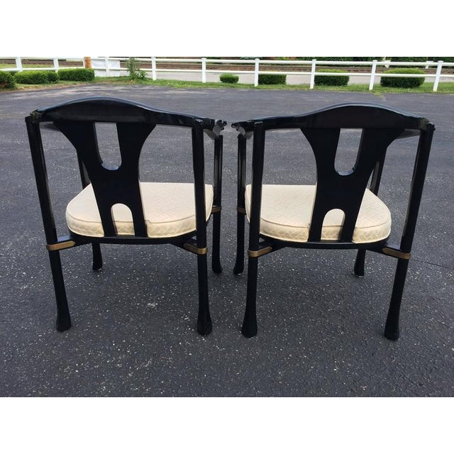 Century Asian Style Lacquered Armchairs - A Pair For Sale - Image 9 of 11