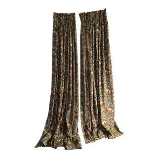 Chinese Leopard Toile Curtains - a Pair