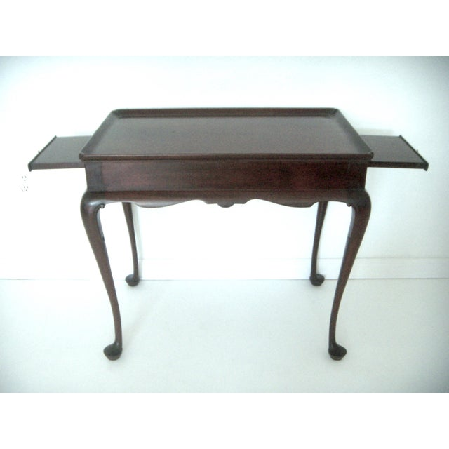 Brass Biggs Pembroke Chippendale Style Side or Tea Table With Leaves For Sale - Image 7 of 8