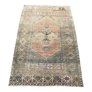 1960s Turkish Bohemian Antique Faded Floor Rug - 3′1″ × 5′1″ For Sale