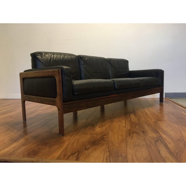 Danish Modern Komfort Mid Century Rosewood & Leather Sofa For Sale - Image 3 of 11