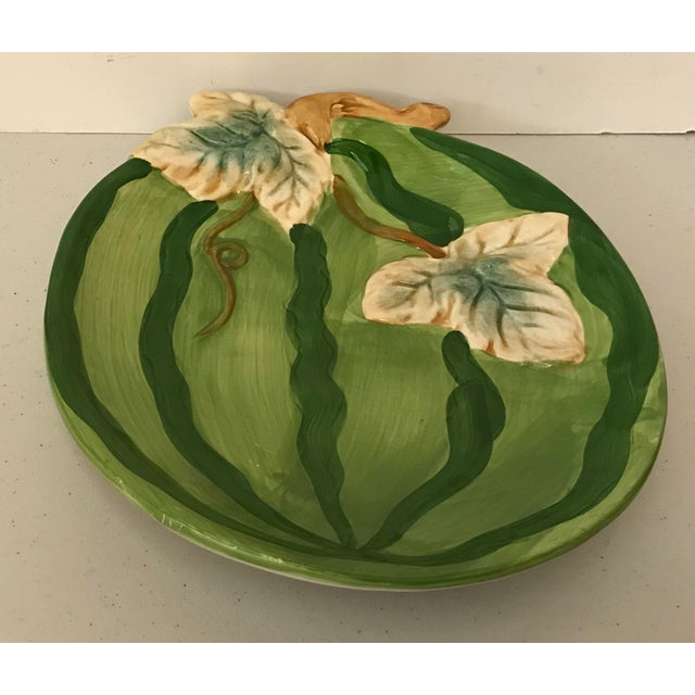 Pretty oval shaped Figural watermelon platter with leaves and vines. Nice serving piece!