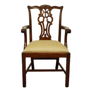 Vintage Maitland Smith Solid Mahogany Traditional Chippendale Style Dining Arm Chair For Sale