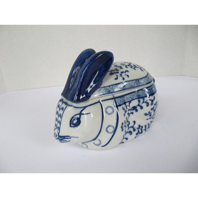 Blue & White Porcelain Rabbit Lided Box For Sale - Image 5 of 6