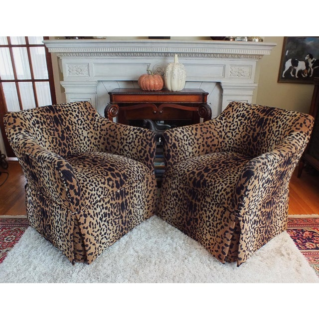 Vintage Leopard Swivel Club Chairs - Pair - Image 3 of 11