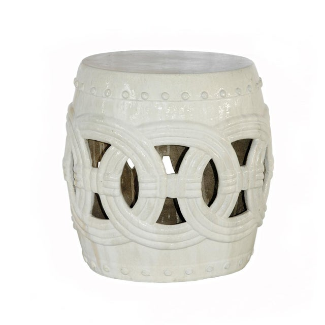 white ceramic glaze with rope design garden stool great for indoors or out used as - Ceramic Garden Stool