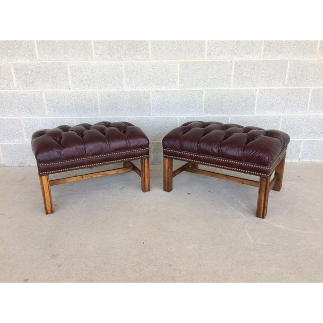 Chippindale Style Stretcher Base Oxblood Footstools A Pair - Image 2 of 9