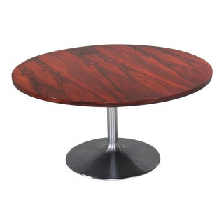 1960s Danish Modern Height-Adjustable Round Rosewood Pedestal Table For Sale