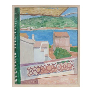 Villa on the Coast Framed Oil on Canvas Painting, 20th Century For Sale