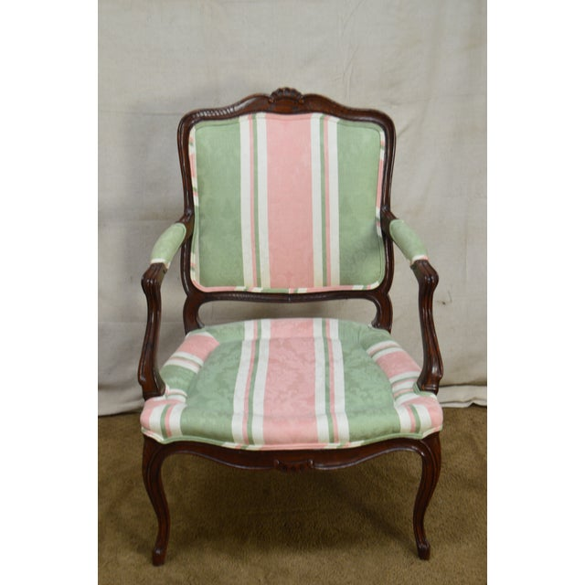 French Louis XV Style Custom Quality Fauteuil Arm Chair For Sale In Philadelphia - Image 6 of 13