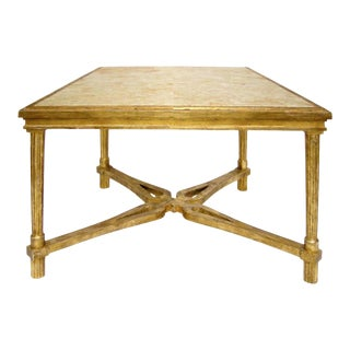 CARVED ITALIAN GILT-WOOD SIDE TABLE WITH MARBLE TOP BY RANDY ESADA DESIGNS For Sale