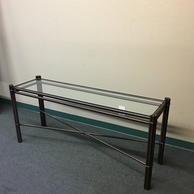 Contemporary Kolkka Glass Top Iron Console Table For Sale - Image 3 of 10