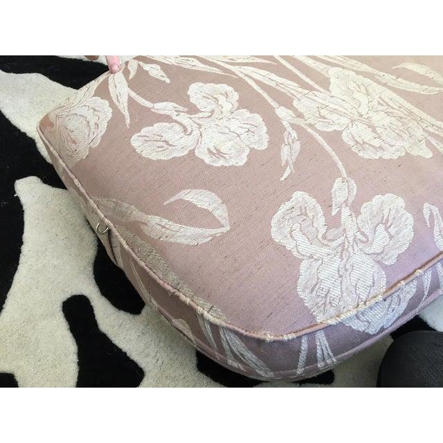 Henredon Mid Century Tufted Floral Soft Pink Tonal Sofa - Image 7 of 7