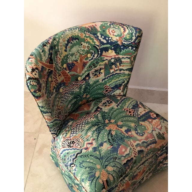 Green Boho Chic Style Upholstered Vanity Chair For Sale - Image 8 of 13