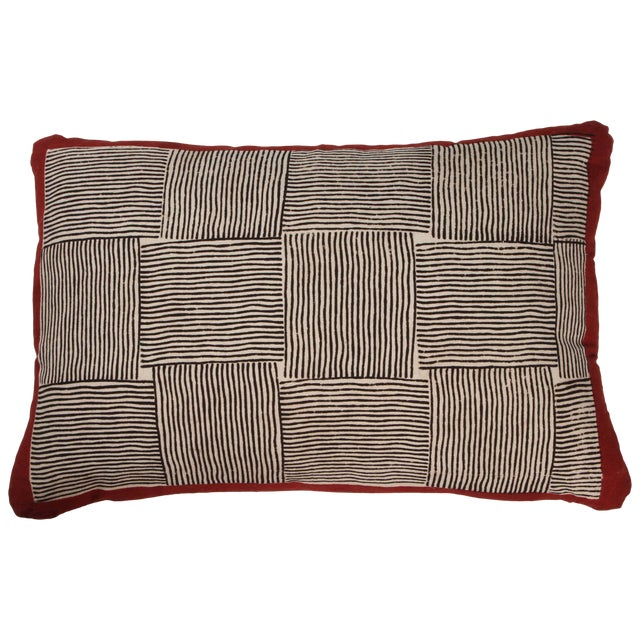 Gopal Indian Cotton Block Print Pillow in Black, White and Red For Sale