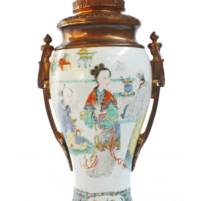 Late 18th Century Pair of 18th Century Chinese Gilt Mounted Porcelain Vases as Lamps For Sale - Image 5 of 7
