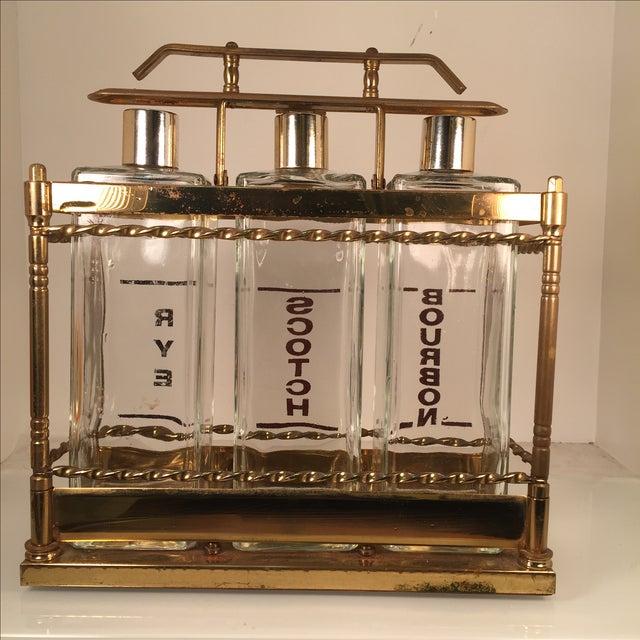 Bourbon Scotch Rye Bar Caddy Liquor Decanters - Image 4 of 6