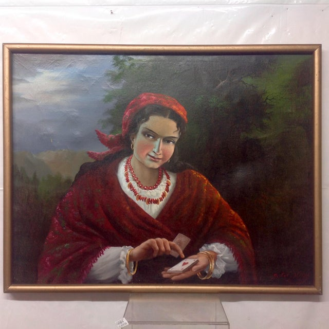 Vintage Gypsy Woman Oil Painting - Image 2 of 10