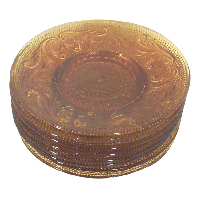 Gold Sandwich Glass Saucers - Set of Six - Image 1 of 3