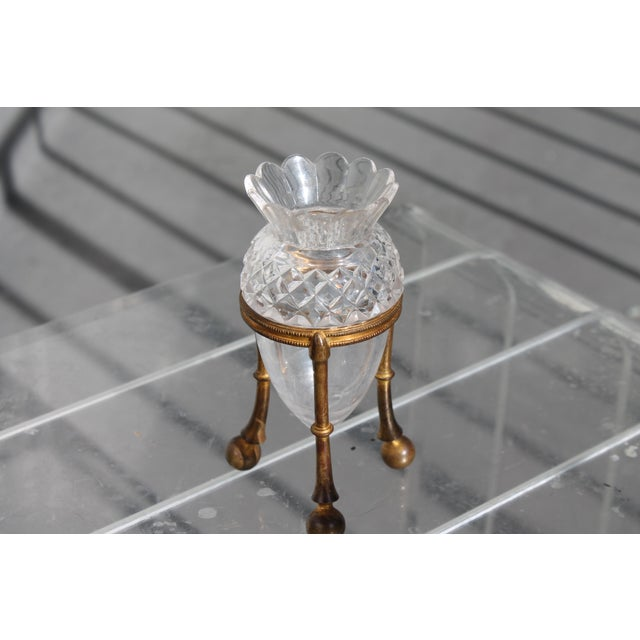 Neoclassical 19th Century Famed Glass House F. & C. Osler Gilt Bronze Cut Crystal Epergne For Sale - Image 3 of 11