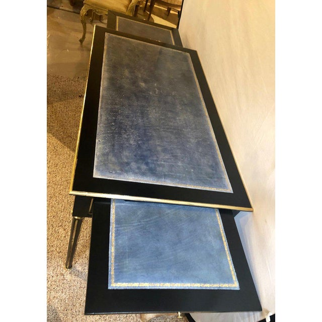 Gold Ebony Jansen Style Hollywood Regency Bronze Mounted Writing Table or Desk For Sale - Image 8 of 13
