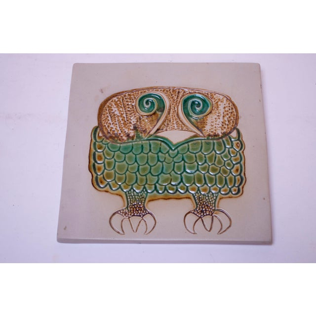Mid-Century Owl Trivet / Wall Tile by David Gil for Bennington Potters For Sale - Image 11 of 11