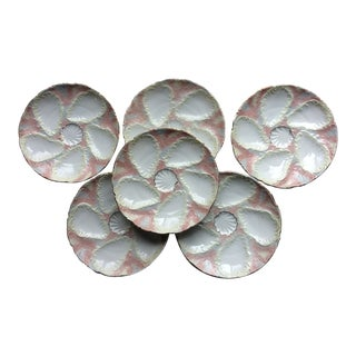 1850s French Porcelain Oyster Plates - Set of 6 For Sale