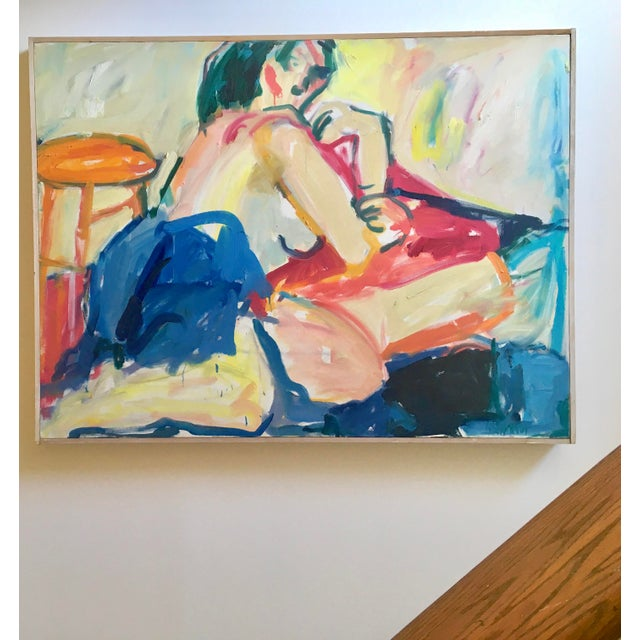 """Abstract 1970s Large Original Abstract Painting """"Figure"""" by Ellen Reinkraut For Sale - Image 3 of 10"""